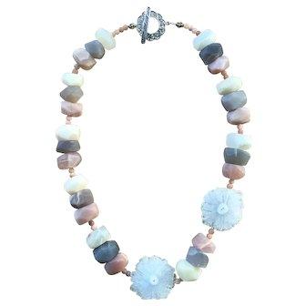 Rainbow Sunstone with White Solar Stalactite slab Necklace