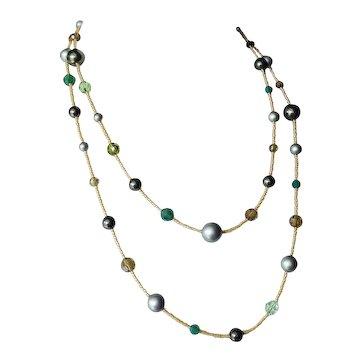 Long Swarovski Crystals and Swarovski simulated Pearls Necklace