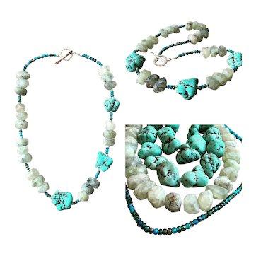 Green Turquoise Tourmalinated Quartz Apatite Nugget Necklace