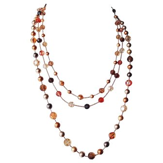 Triple Strand Swarovski Crystals and Swarovski simulated Pearls Necklace