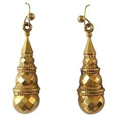 Antique Victorian 9ct 9k Gold Etruscan Revival Drop Earrings
