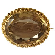 Antique late Georgian 18ct Gold Champagne Citrine Brooch