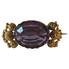 Antique Late Georgian Amethyst Paste Cannetille Silver Gilt Brooch