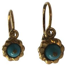 Antique Victorian Dainty 15ct Turquoise Dormeuses Earrings