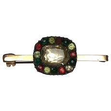 Stunning Antique Georgian Foiled Chrysoberyl & Coloured Paste Brooch