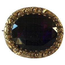 Antique Georgian 12ct Gold Foiled Amethyst Paste Brooch
