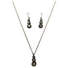 Antique Georgian Silver Foiled Back Paste Earrings & Necklace Pendant Demi Parure
