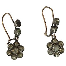 Antique Victorian Paste Silver Daisy Star Drop Cluster Earrings w/ 9ct Gold Hooks - Red Tag Sale Item