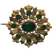 Fine Georgian Cannetille Emerald Paste Flower Brooch