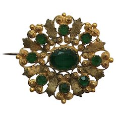 Fine Georgian Cannetille Emerald Paste Flower Brooch