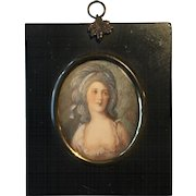 Antique 19th Century Hand Painted & Signed Miniature Portrait of a Beautiful Georgian Lady