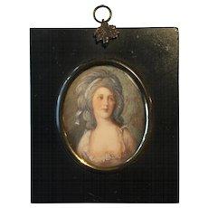 Antique Georgian 19th Century Hand Painted & Signed Miniature Portrait of Comtesse Zofia Potocka