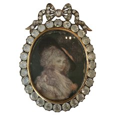 Stunning Antique Large Paste Locket Pendant w/ Hand-Painted Miniature Portrait of Georgiana, Duchess of Devonshire