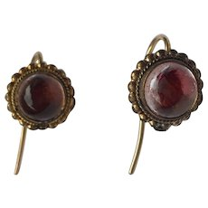Antique Early Victorian Foiled Back Rock Crystal Cabochon Stud Earrings w/ 9ct gold hooks, c. 1850