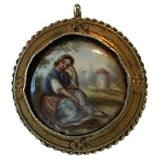 Georgian Enamel Sepia Miniature Painting Mourning Pendant Brooch
