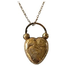 Antique Georgian c.1830 18ct Gold Heart Padlock Locket Pendant on later 9ct Gold Chain