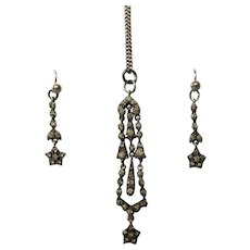 Antique Victorian Foiled Silver Paste Star Earrings & Necklace Pendant Demi-Parure Set
