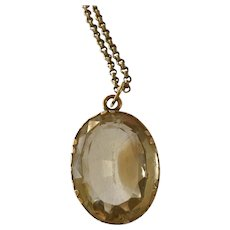 Stunning Antique Victorian 9ct Gold Large Champagne Citrine Pedant on Chain