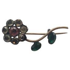 Georgian Foiled Back Coloured Paste Giardinetti Flower Brooch