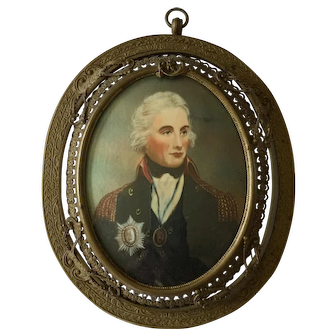 Antique 19th Century Signed Miniature Portrait of Lord Horatio Nelson after Richard Cosway