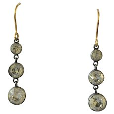 Antique Silver Foiled Back Paste Trilogy Drop Earrings with later 9ct hooks