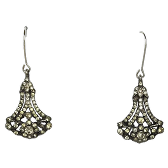 Antique Victorian Silver Foiled Back Paste Drop Earrings