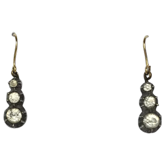 Antique Georgian Silver Foiled Back Paste Trilogy Earrings w/ 9ct gold hooks