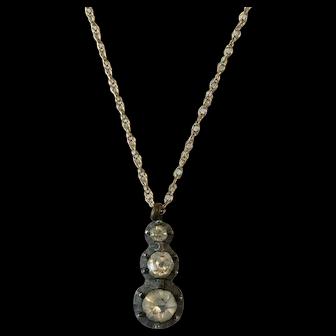 Antique Georgian Silver Foiled Back Paste Necklace Pendant w/ 9ct gold chain