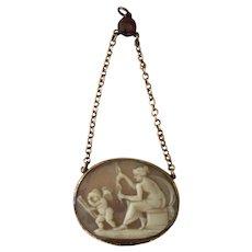 Antique Georgian Shell Cameo Pendant Venus Handing Bow To Cupid w/ Garnet