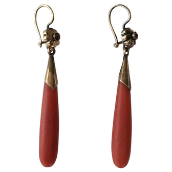 Antique Victorian 15ct Gold Coral Day Night Drop Earrings