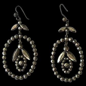 Exquisite Antique Georgian Cut Steel Girandole Drop Earrings
