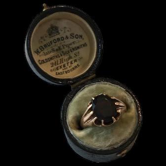 Antique Victorian 9ct Gold Hallmarked Garnet Solitaire Ring Birmingham 1855 4.0g