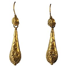 Gorgeous Antique Georgian Repousse Pinchbeck Torpedo Drop Earrings