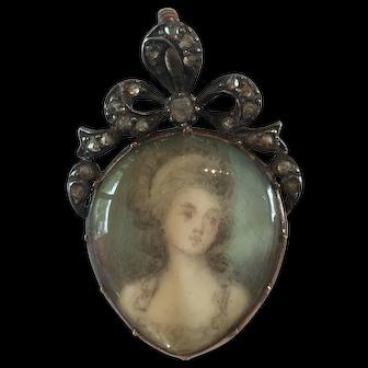 Antique Georgian Diamond Miniature Painting Crystal Heart Pendant