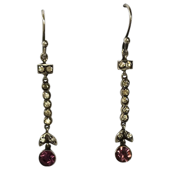 Gorgeous Antique Victorian Silver Foiled Back Amethyst Paste Drop Earrings