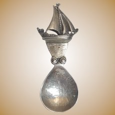 Vintage Arts & Crafts Sterling Silver Ship Caddy Spoon