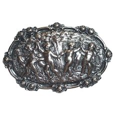 Vintage German Gustav Hauber 800 Silver Putti Cherubs Dancing Around Tree Brooch Germany