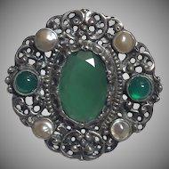Antique Jugendstil 800 Silver Chrysoprase & Blister Pearl Brooch