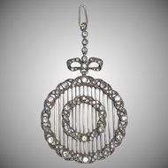 Antique 935 Sterling Silver Paste Bow & Wreath Design Pendant
