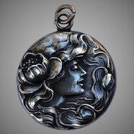 Antique Sterling Silver Art Nouveau Woman & Water Lily Locket Pendant