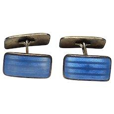 Vintage Norwegian Aksel Holmsen Norne Sterling Silver Gilt Blue Enamel Cufflinks Norway