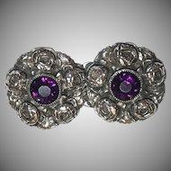 Antique Sterling Silver Rose Flower Design Purple Paste Belt Buckle