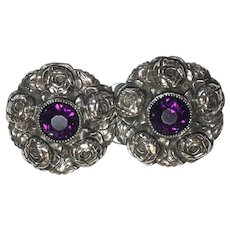 Antique Sterling Silver Rose Flower Design Purple Paste Belt Buckle