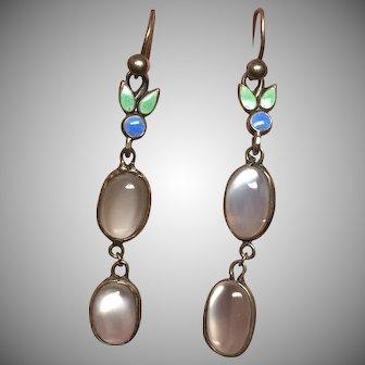 Vintage Arts & Crafts Bernard Instone Sterling Silver Enamel & Moonstone Earrings