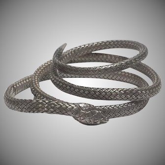 Antique French Woven Mesh Sterling Silver Coiled Snake Bracelet