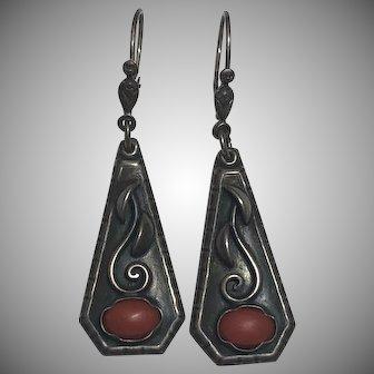 Vintage 835 Silver Coral Dangle Earrings