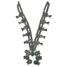 Vintage Native American 900 Silver Turquoise Squash Blossom Necklace