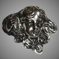 Antique C. 1904 Unger Bros. Sterling Silver Girl Holding Conch Shell Brooch