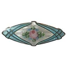 Vintage Sterling Silver Enamel Rose Flower Brooch