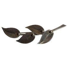 Vintage Danish S. Christian Fogh Sterling Silver Leaf Brooch Denmark